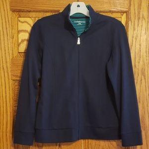 Navy knit zip up jacket.